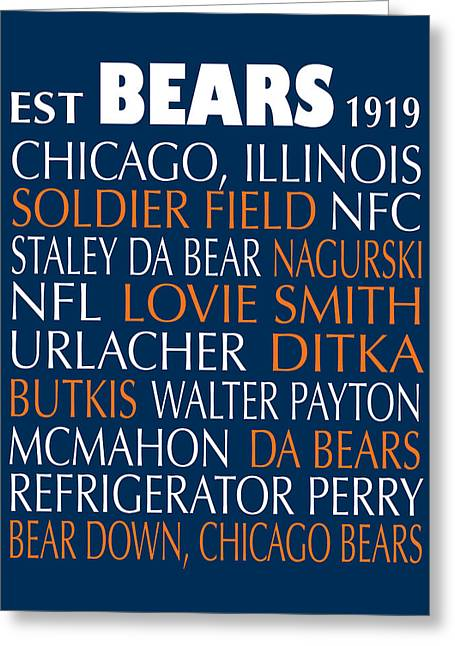 Football Words Greeting Cards - Chicago Bears Greeting Card by Jaime Friedman