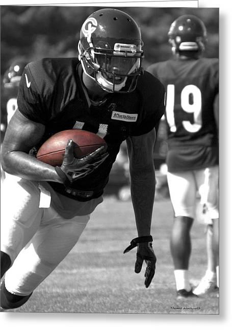Chicago Bears Wr Josh Bellamy Training Camp 2014 Sc 01 Greeting Card by Thomas Woolworth
