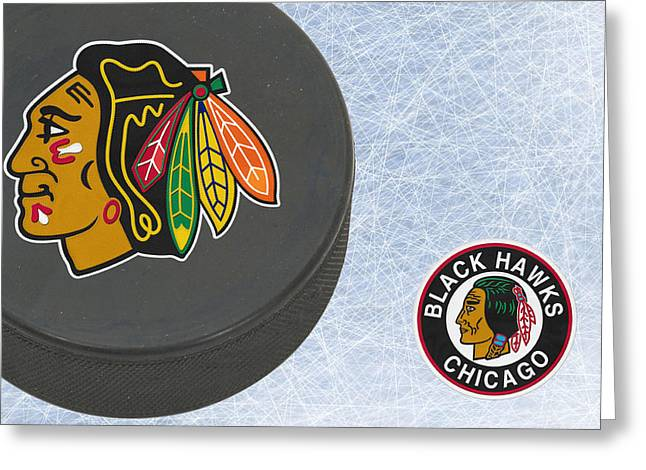 Skates Greeting Cards - Chicago Blackhawks Greeting Card by Joe Hamilton