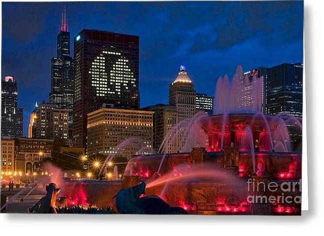 Jeff Lewis Greeting Cards - Chicago Blackhawks Skyline Greeting Card by Jeff Lewis