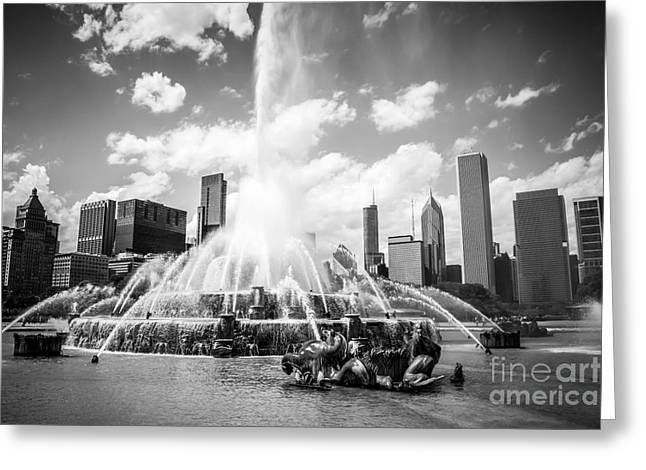 Spraying Greeting Cards - Chicago Buckingham Fountain Black and White Picture Greeting Card by Paul Velgos