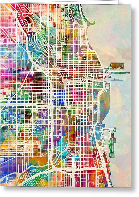 Street Maps Greeting Cards - Chicago City Street Map Greeting Card by Michael Tompsett