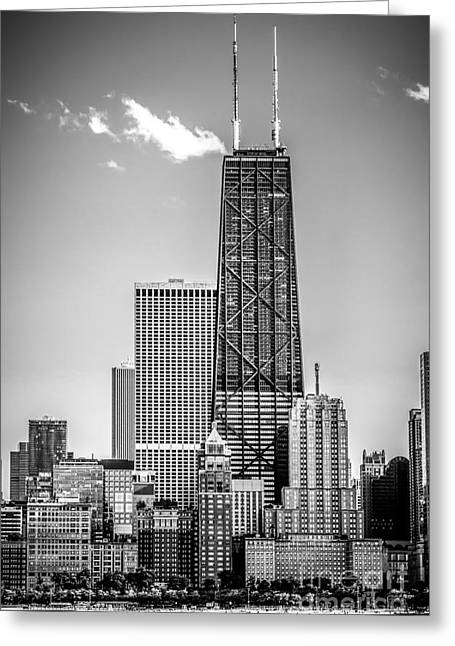 John Hancock Tower Greeting Cards - Chicago Hancock Building Black and White Picture Greeting Card by Paul Velgos