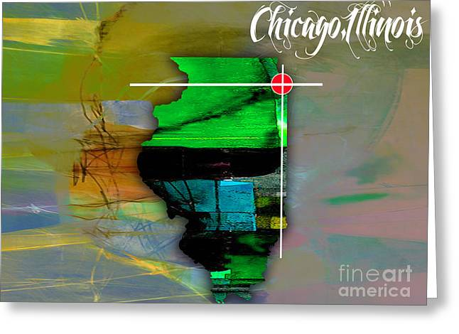 Chicago Skyline Mixed Media Greeting Cards - Chicago Illinois Map Watercolor Greeting Card by Marvin Blaine