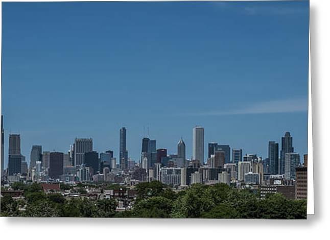 Chicago Bulls Greeting Cards - Chicago Illinois Skyline Panoramic Greeting Card by David Haskett