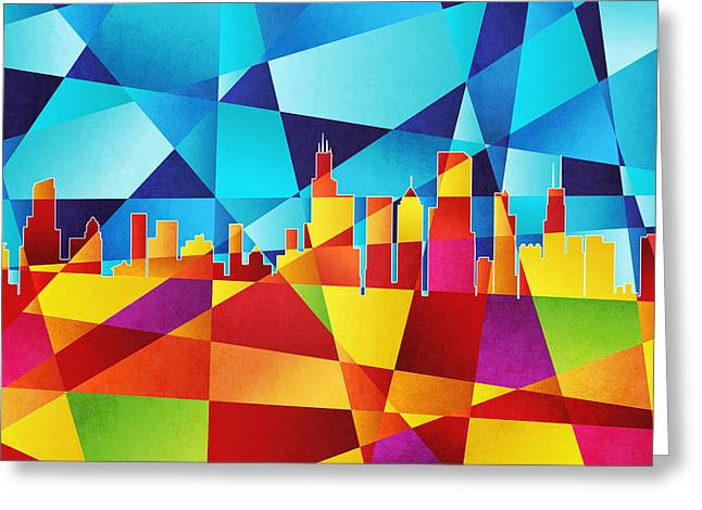Geometric Greeting Cards - Chicago Illinois Skyline Greeting Card by Michael Tompsett