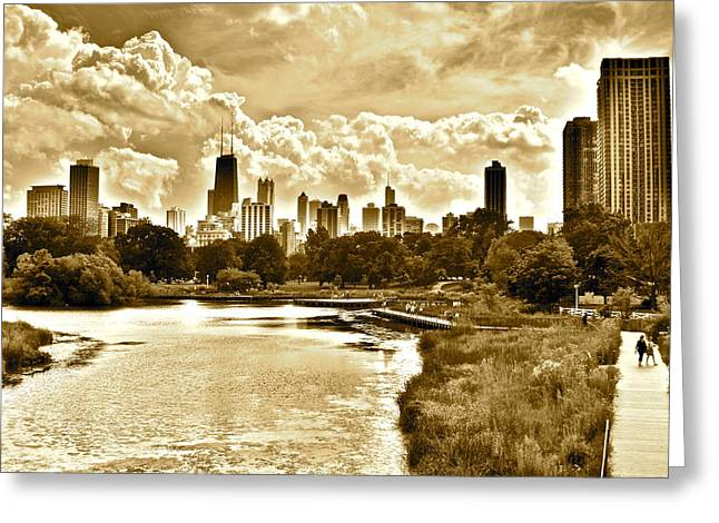 Ominous Sky Greeting Cards - Chicago in Sepia Greeting Card by Frozen in Time Fine Art Photography