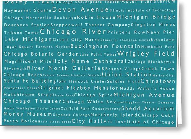 Daley Plaza Greeting Cards - Chicago in Words Teal Greeting Card by Sabine Jacobs