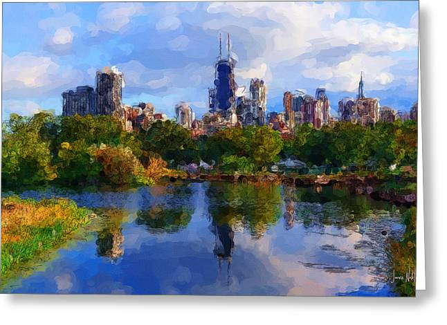 Windy City Mixed Media Greeting Cards - Chicago Greeting Card by Jarvis Noble