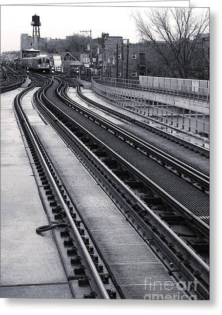 Chicago Loop Train Greeting Card by Gregory Dyer