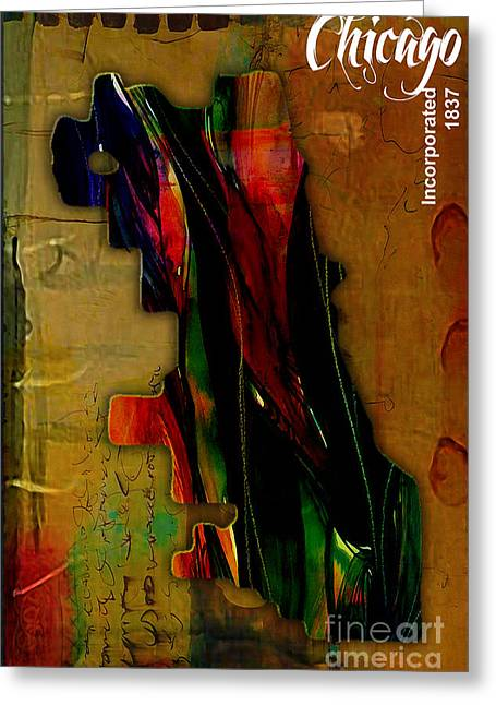 Map Greeting Cards - Chicago Greeting Card by Marvin Blaine