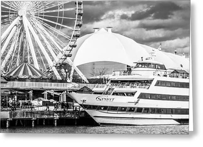 Black And White Photos Greeting Cards - Chicago Navy Pier Panoramic Photo Greeting Card by Paul Velgos