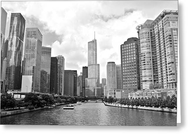 The Bean Greeting Cards - Chicago River Black and White Greeting Card by Frozen in Time Fine Art Photography