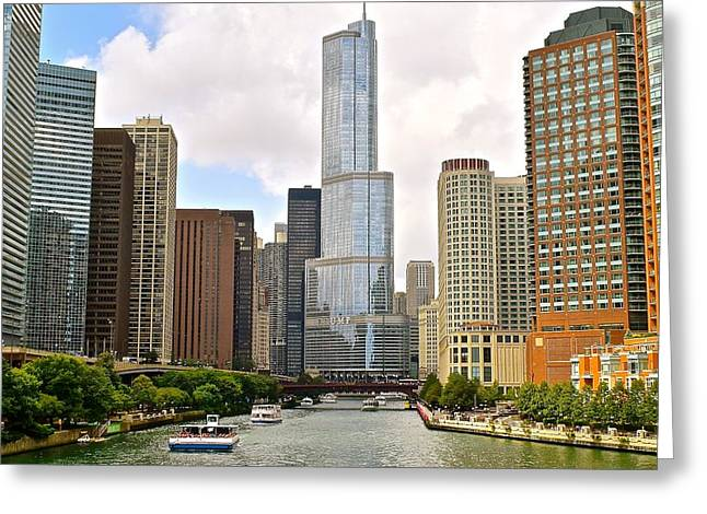 The Bean Greeting Cards - Chicago River Greeting Card by Frozen in Time Fine Art Photography