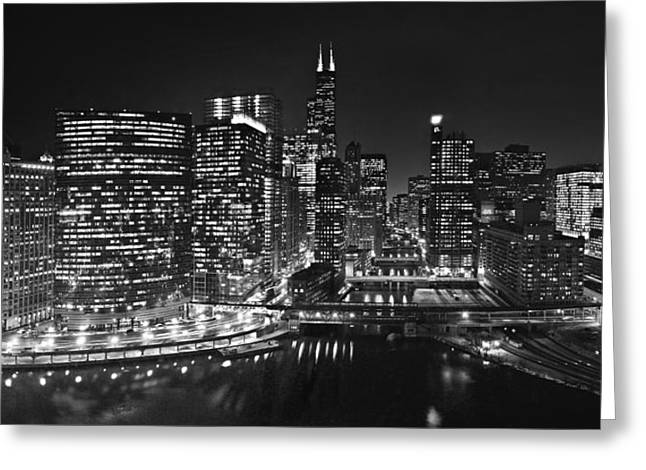 333 Greeting Cards - Chicago River Panorama B W Greeting Card by Steve Gadomski