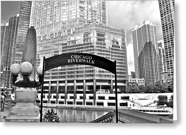 Chicago Bulls Greeting Cards - Chicago Riverwalk Greeting Card by Frozen in Time Fine Art Photography