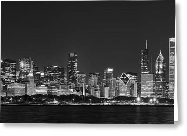 Hancock Greeting Cards - Chicago Skyline at Night Black and White Panoramic Greeting Card by Adam Romanowicz
