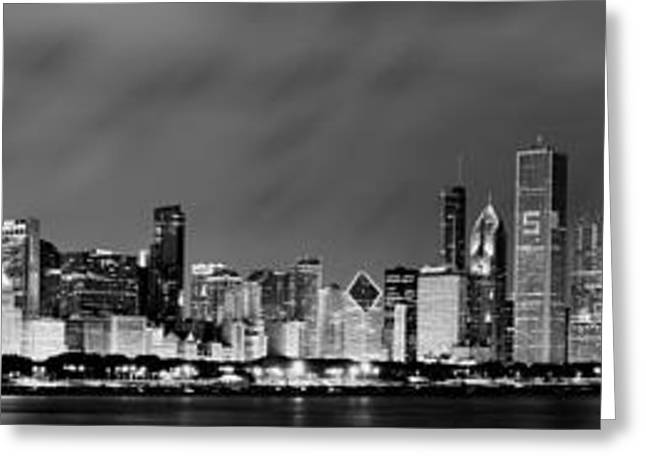 Black Greeting Cards - Chicago Skyline at Night in Black and White Greeting Card by Sebastian Musial