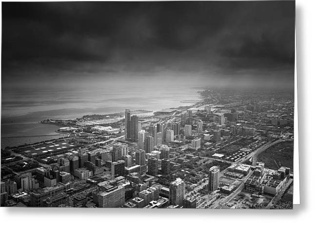 Chicago Black White Greeting Cards - Chicago Skyline Greeting Card by Ian Barber