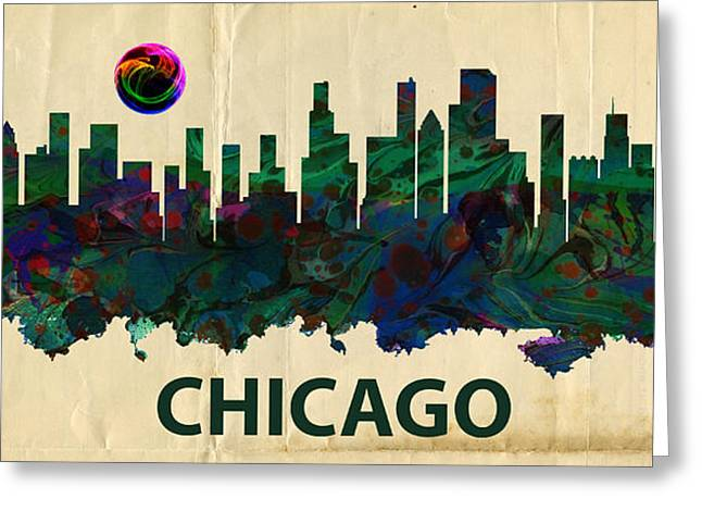 Chicago Bulls Mixed Media Greeting Cards - Chicago Skylines Greeting Card by MotionAge Designs