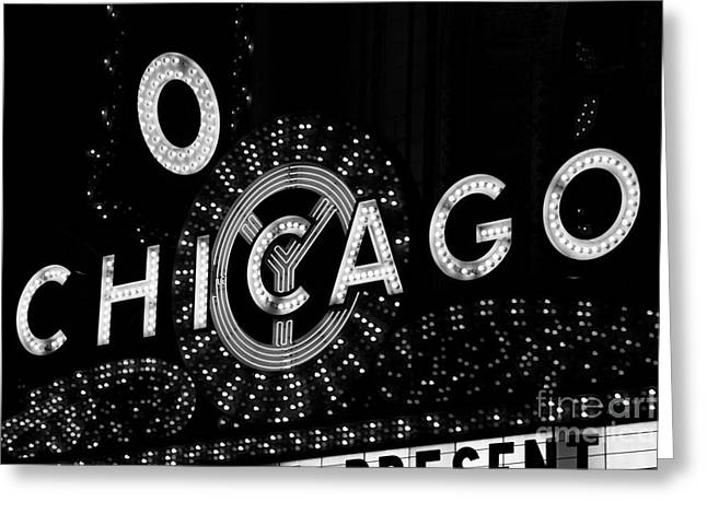 Theater Greeting Cards - Chicago Theater Sign in Black and White Greeting Card by Paul Velgos