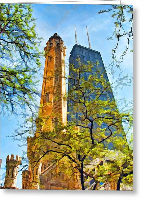 Water Tower Greeting Cards - Chicago Water and Hancock Towers Greeting Card by Christopher Arndt