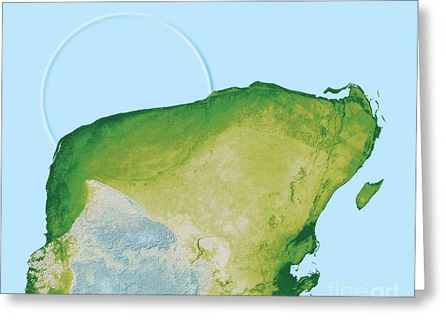 Dinosaur Map Greeting Cards - Chicxulub Impact Crater, Yucatan, Mexico Greeting Card by Detlev van Ravenswaay