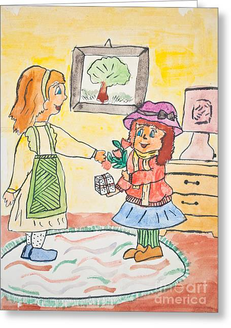 Daughter Gift Greeting Cards - Child drawing of mother giving gift to daughter Greeting Card by Aleksandar Mijatovic