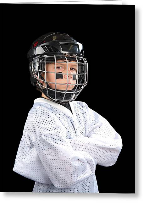 Hockey Guy Greeting Cards - Child Hockey Player Greeting Card by Joe Belanger
