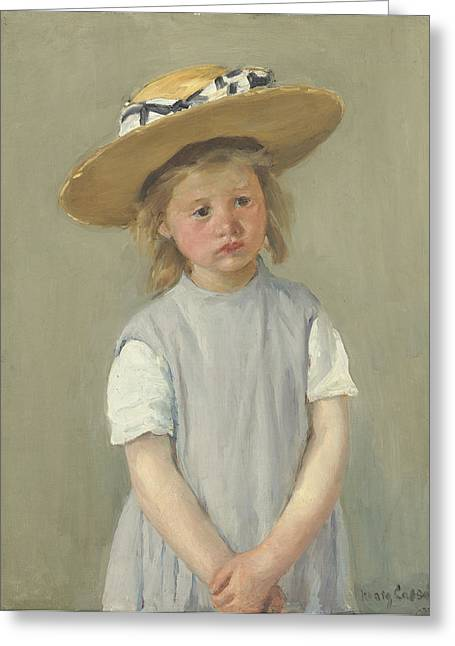 African-american Paintings Greeting Cards - Child In A Straw Hat Greeting Card by Mary Cassatt