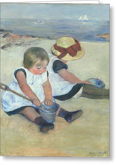 Cassatt Greeting Cards - Children Playing On The Beach Greeting Card by Celestial Images