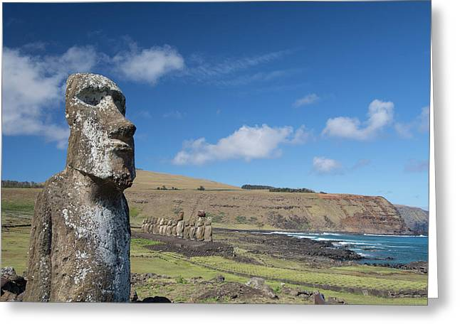 Chile, Easter Island, Hanga Nui Greeting Card by Cindy Miller Hopkins