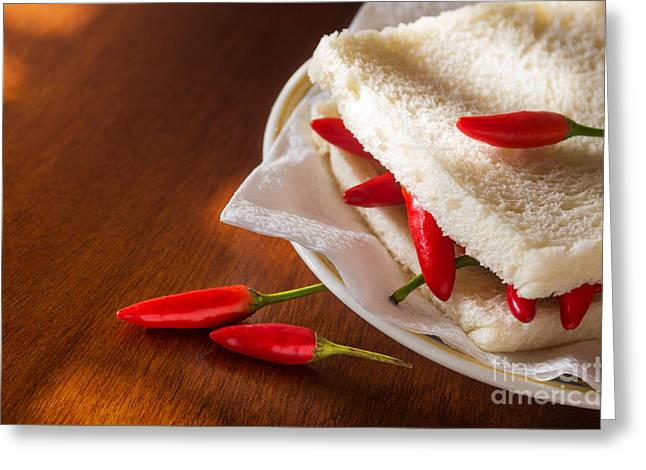 Tough Greeting Cards - Chili pepper Sandwich Greeting Card by Carlos Caetano