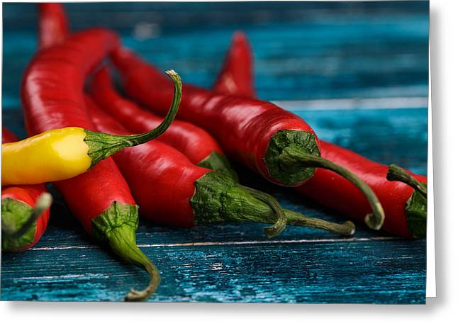 Cyan Greeting Cards - Chili Peppers Greeting Card by Nailia Schwarz