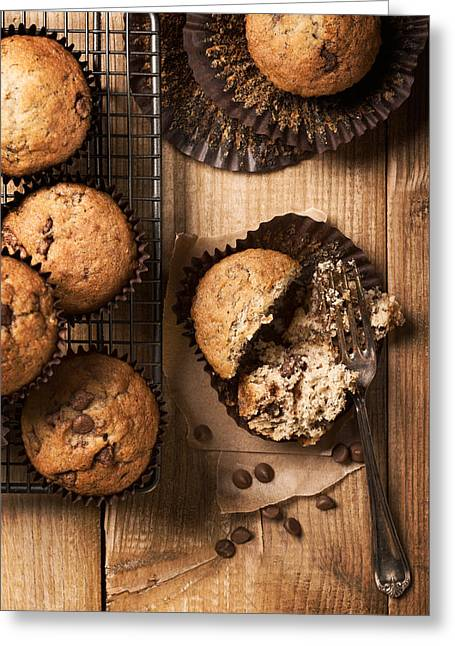 Cooling Greeting Cards - Chocolate Chip Muffins Greeting Card by Amanda And Christopher Elwell