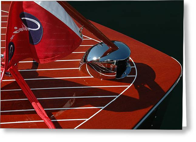 Mahogany Greeting Cards - Chris Craft Bow Greeting Card by Steven Lapkin
