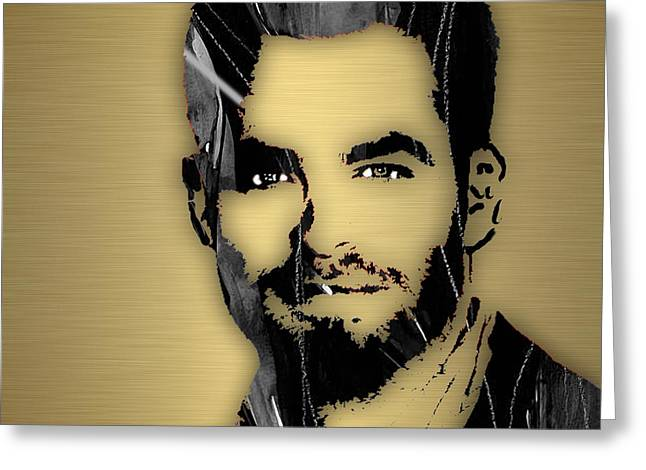 Enterprise Mixed Media Greeting Cards - Chris Pine Collection Greeting Card by Marvin Blaine