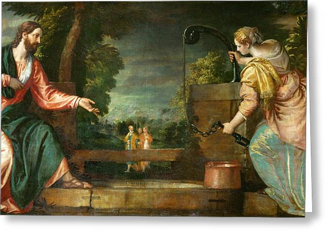Samaritan Greeting Cards - Christ and the Samaritan Woman at the Well Greeting Card by Paolo Veronese