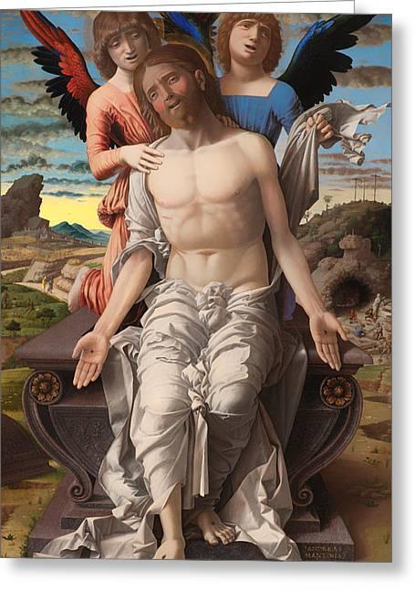 Religious Artwork Paintings Greeting Cards - Christ as the Suffering Redeemer  Greeting Card by Andrea Mantegna