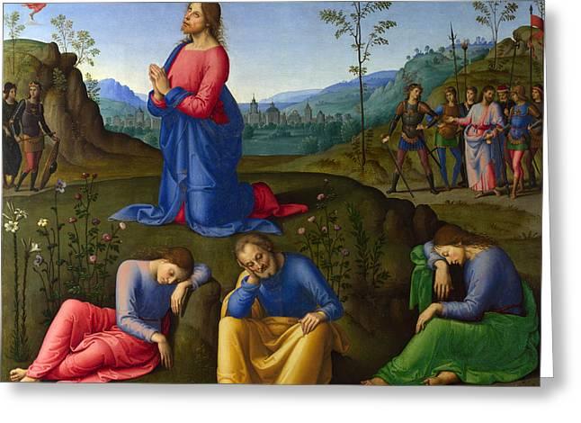 Christ Gethsemane Greeting Cards - Christ at Gethsemane Greeting Card by Lo Spagna