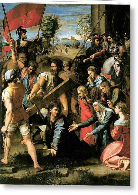 Christ Falls On The Way To Calvary Greeting Card by Raphael