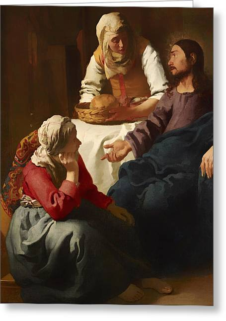 Religious work Paintings Greeting Cards - Christ in the House of Martha and Mary Greeting Card by Johannes Vermeer