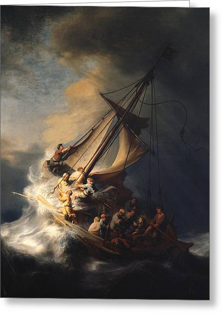Storm Clouds Drawings Greeting Cards - Christ In The Storm On The Sea Of Galilee Greeting Card by Celestial Images