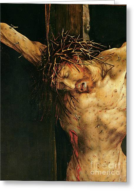 Gospel Greeting Cards - Christ on the Cross Greeting Card by Matthias Grunewald