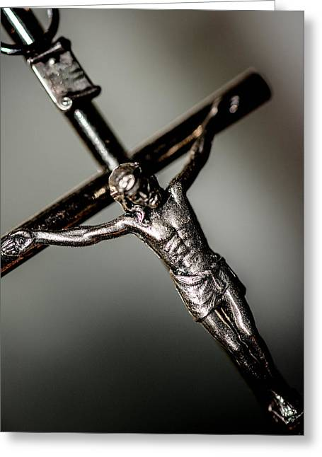 Jesus Mixed Media Greeting Cards - Christ on the cross  Greeting Card by Toppart Sweden