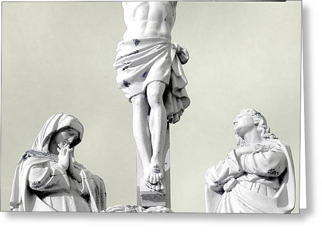Christ on the Cross with Mourners Evansville Indiana 2006 Greeting Card by John Hanou