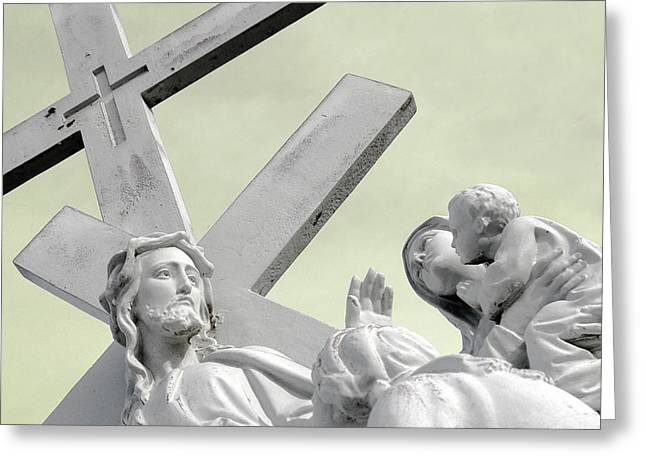 Christ on the Cross with Mourners Saint Joseph Cemetery Evansville Indiana 2006 Greeting Card by John Hanou