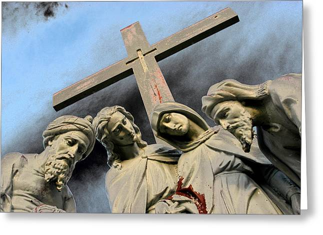 Christ on the Cross with Mourners St. Joseph Cemetery Evansville Indiana 2006 Greeting Card by John Hanou