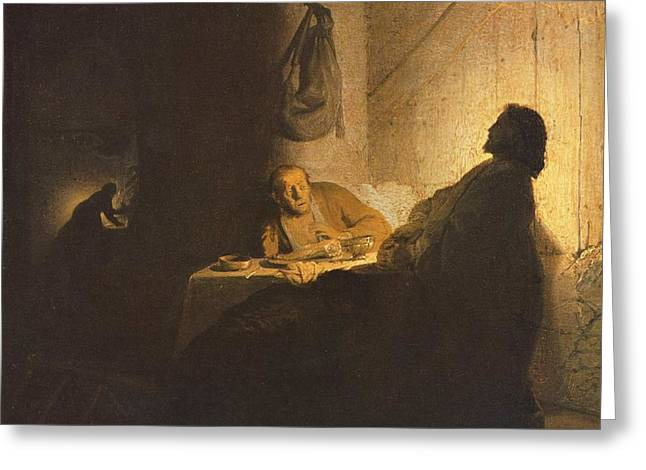 Storm Prints Paintings Greeting Cards - Jesus Christ road to emmaus Greeting Card by Rembrandt