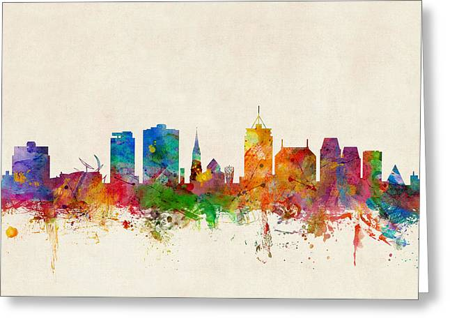 New Zealand Greeting Cards - Christchurch New Zealand Skyline Greeting Card by Michael Tompsett